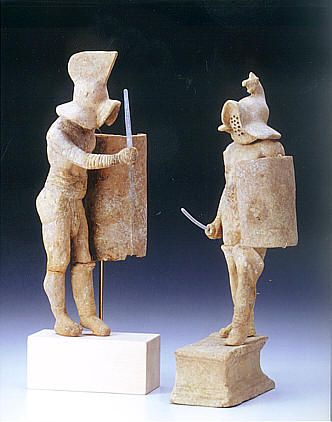 Two beautiful terracotta figurines representing two gladiators: murmillo a left and a thraex, date back to the second century. A.D. Württembergisches Landesmuseum Stuttgart.