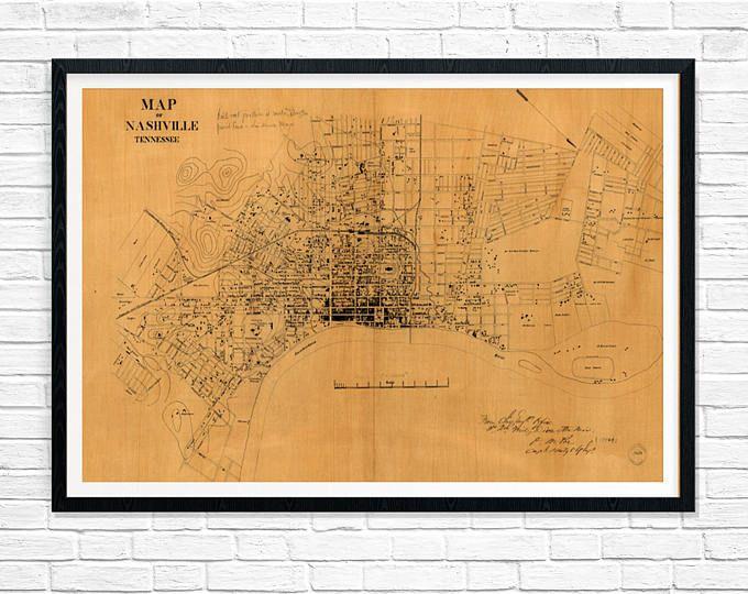 Nashville Tennessee Map, Old Map of Nashville 1860, Antique Map of Tennessee, Restoration Hardware Style Vintage Map, Old Map of Nashville