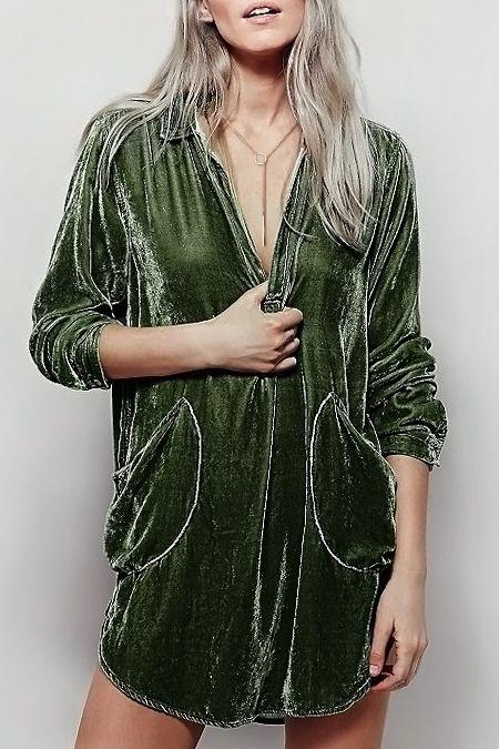 Cozy Velvet Shirt Dress