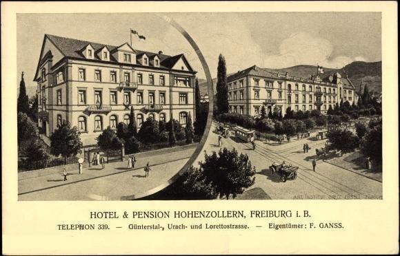 Hotel & Pension Hohenzollern Freiburg - Schöne Postkarte des Freiburger Hotel Hohenzollern. Das Hotel befand sich Günterstalstr. Ecke Urachstr.    Vielen Dank für dieses schöne Bild an unseren Facebook-Fan Michael Engl /*  */