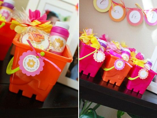 Birthday Party Favors in Beach Buckets -- too cute! #underthesea #party #theme #creative #happybirthday #beach
