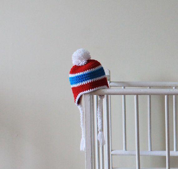 Tuque du tricolore au crochet, bonnet bleu blanc rouge avec pompon, chapeau  couleurs des Canadiens pour bébés enfants adultes, boxing day