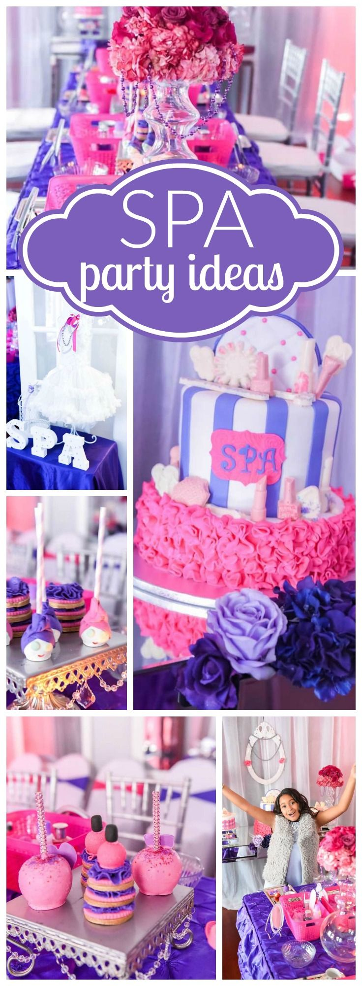 These girls had a day of relaxation at this pink and purple spa party! See more party ideas at CatchMyParty.com!