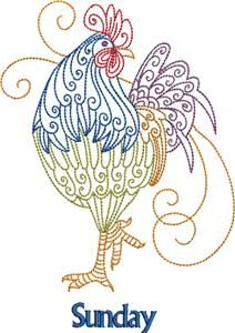 Embroidery.com: Rooster, Days of the Week 7: Individual Designs    I just think these embroidery designs are sooo cute.