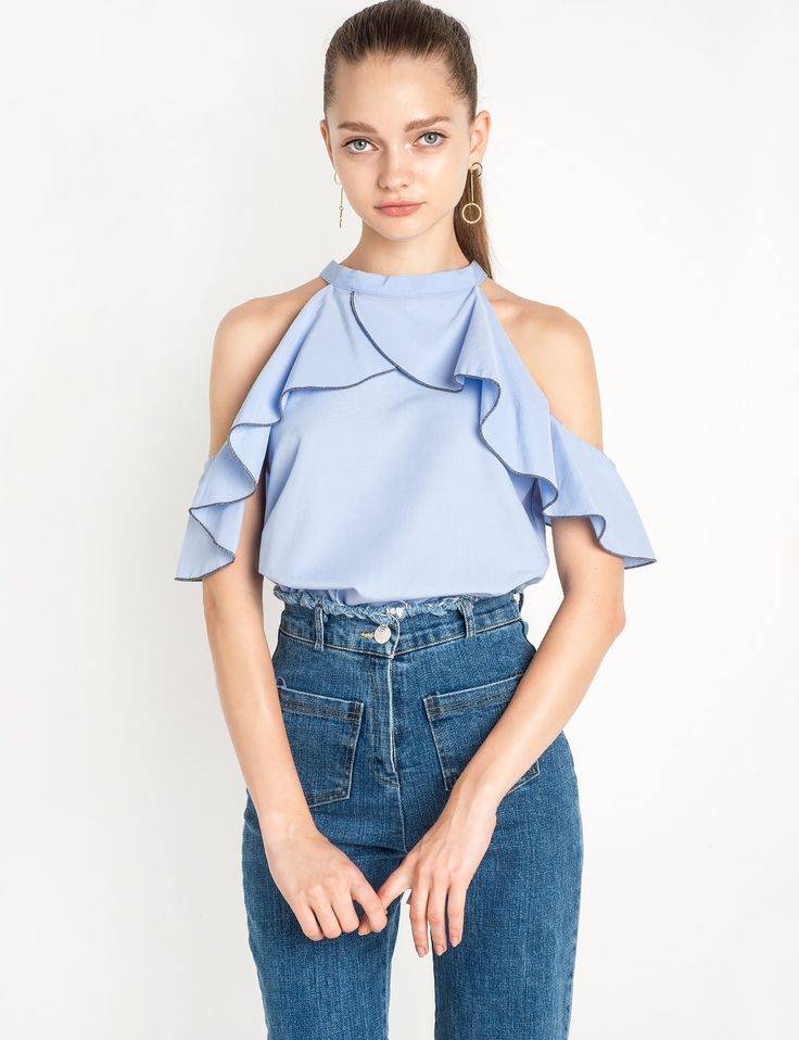 Ruffled Cut Out Shoulder Blue Top