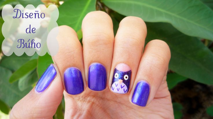 #NailArt #Tutorial #Buho #Owl #Masglo #Purple