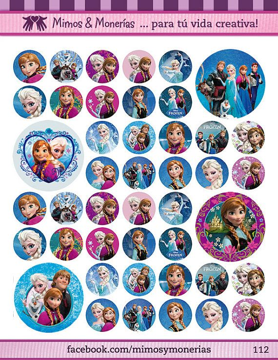 "Disney Frozen Bottle Cap Images 1"" - Digital Collage Sheet 8.5x11"" - Hair Bow Centers, Magnets, Stickers and Crafts - INSTANT DOWNLOAD"