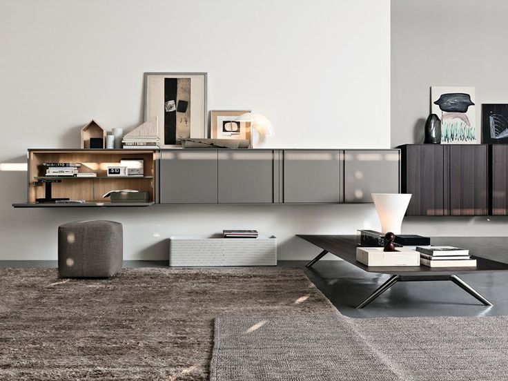 Wall mounted sideboard contemporary in wood modular pass word by dante bonucelli molteni c