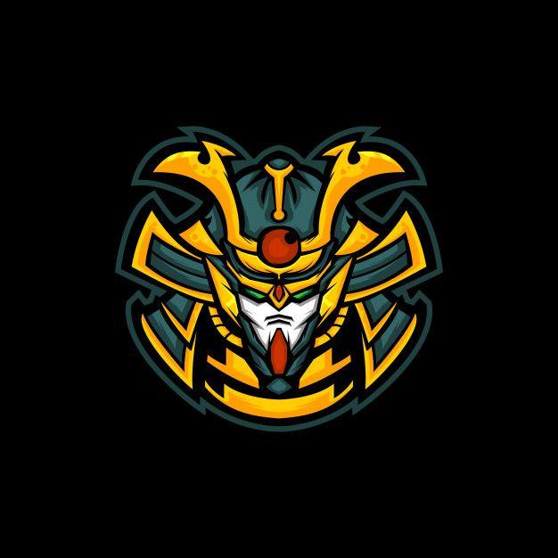 Samurai Robotic Head Mascot Sports Logo Design Robot Samurai Samurai