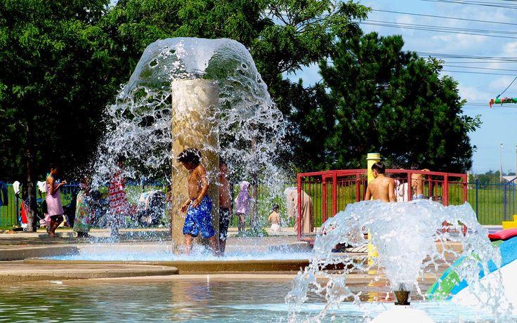 Enjoying the fountain at Kidstown Water Park