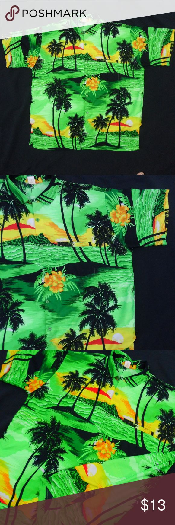 Lime Green Hawaiian Shirt Rima  Lime Green-Hawaiian Shirt-Lime Green-Short Sleeve-Button Down-100% Terivoile  Size: Extra Large  ***Small Black Stain Near Bottom Hem Of Shirt(SEE PHOTO)*** Rima Shirts Casual Button Down Shirts