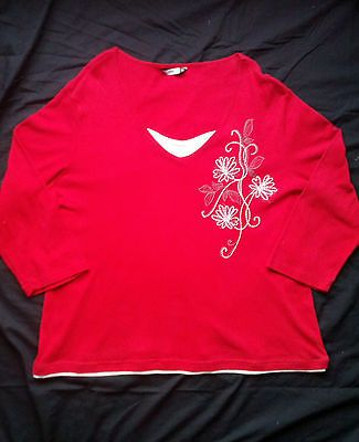 **WOMENS+PLUS+SIZE+24+TOP**+BLOUSE+3/4+LENGTH+NOW+BRAND+RED+FLORAL+PRINT