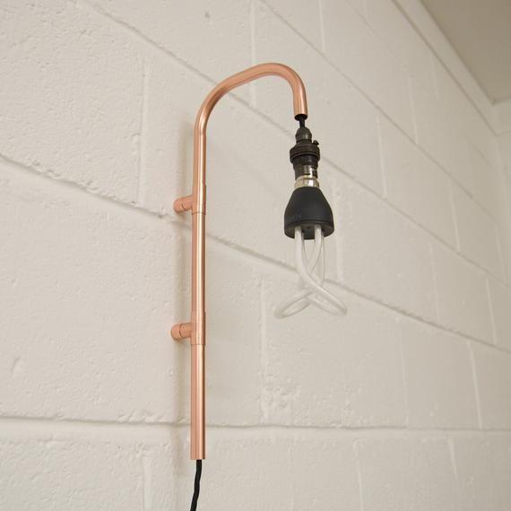 Copper Plug In Light Sconce Copper Wall Light Etsy In 2020 Wall Lights Wall Mounted Light Copper Wall Light