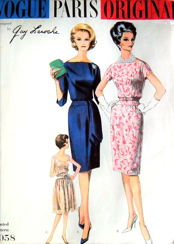 1960 STUNNING Guy Laroche Slim or OverSkirt Cocktail Party Dress Pattern VOGUE PARIS Original 1058 Bateau or Low Scoop Neckline Bust  32 Vintage Sewing Pattern FACTORY FOLDED + Label