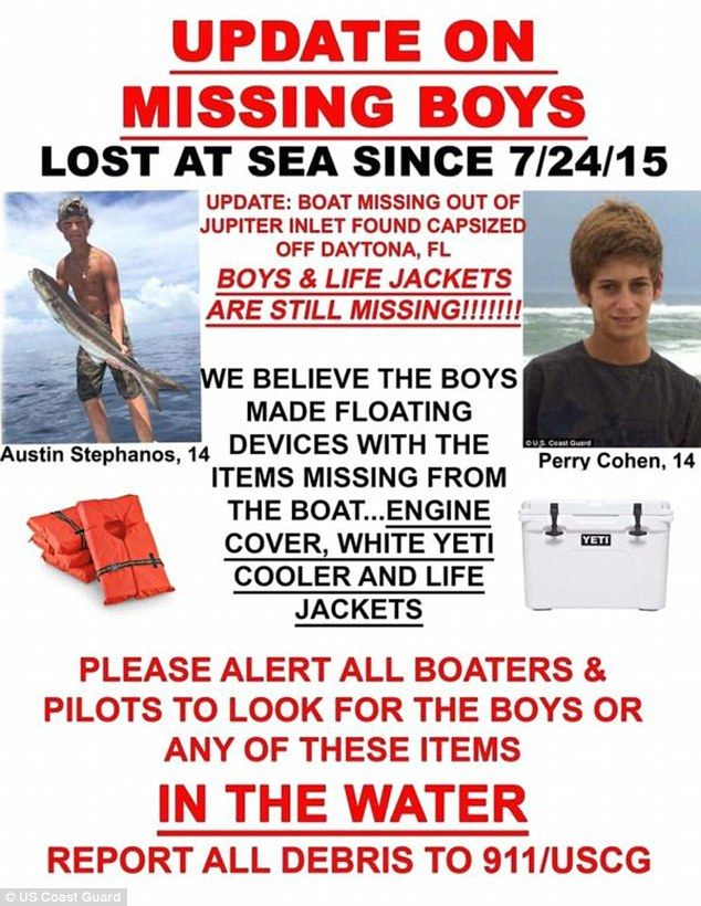 The parents of Austin Stephanos and Perry Cohen boys may have made floating devices from items missing from their fishing boat, found overturned on Sunday