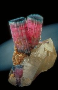 Elbaite ~ As a gemstone, elbaite is a desirable member of the tourmaline group because of the variety and depth of its colours and quality of the crystals. Originally discovered on the island of Elba, Italy in 1913, it has since been found in many parts of the world. In 1994, a major locality was discovered in Canada, at O'Grady Lakes in the Yukon.