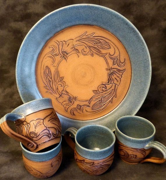 Denim and Leather 131/2 inch Pottery Platter by RedParrotPottery, $95.00    THIS IS AMAZING!!!