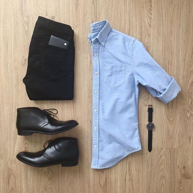 Botines-Camisa Negro y Cielo