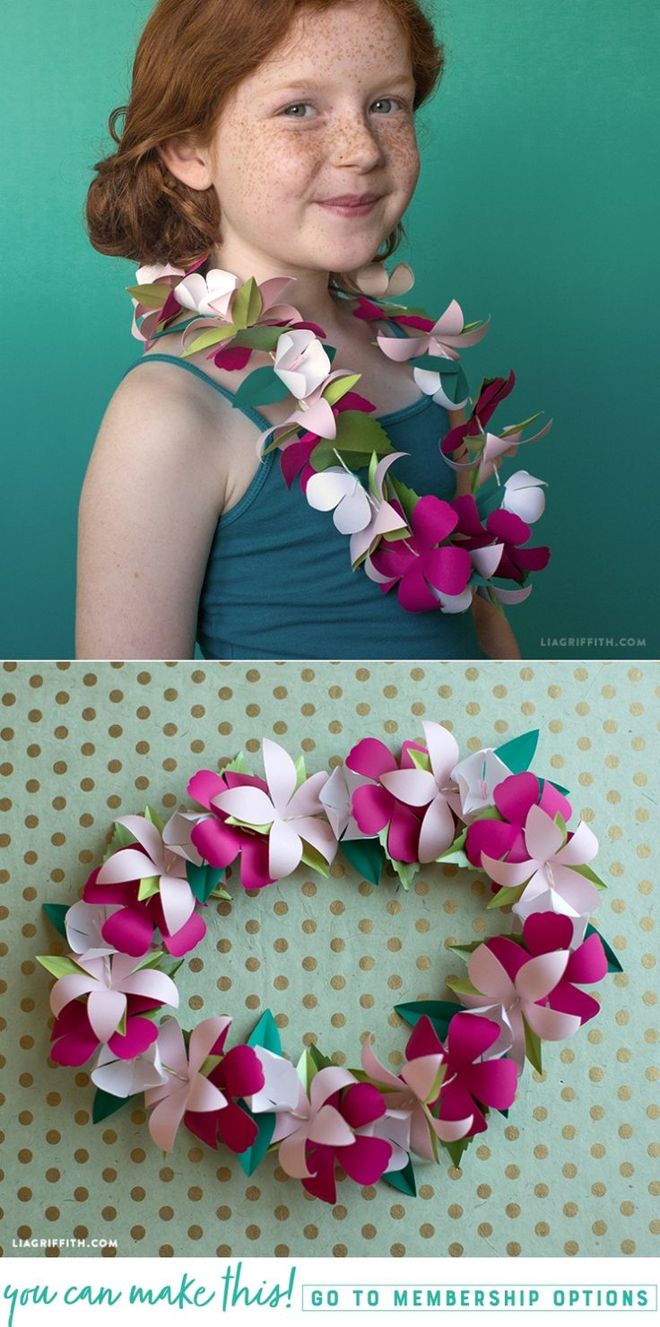 #FlowerLei #PaperFlower #Tropical pattern and tutorial at www.LiaGriffith.com