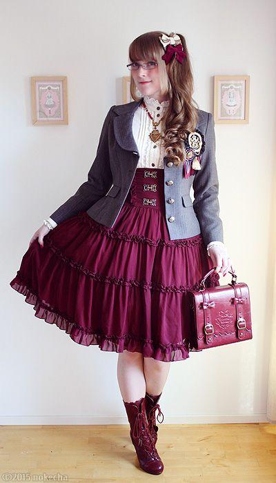 Classic Burgundy Skirt, bag, boots: Innocent World... - Noke