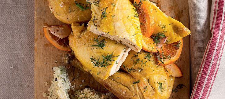 Salt chicken with fennel and orange