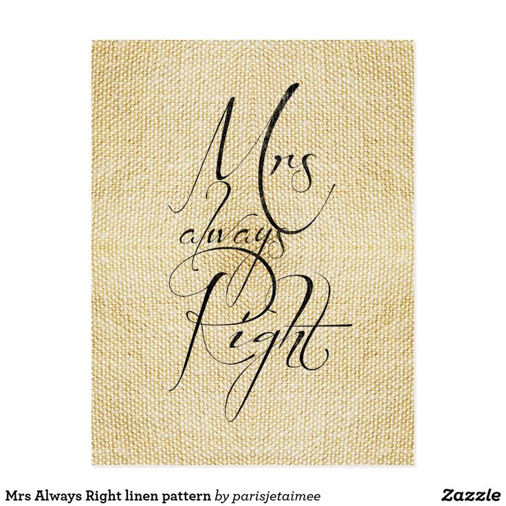 Mrs Always Right linen pattern Postcard