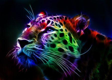 Colorful Fractal Cheetah - Cheetah, Colorful, Fantasy, Fractal