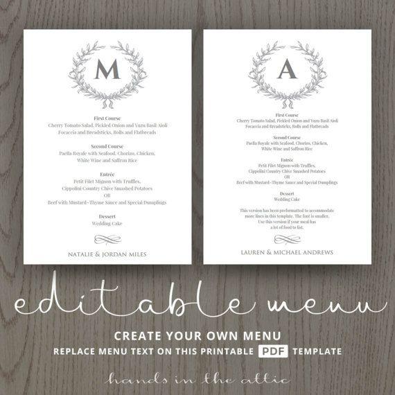 Formal wedding menu simple chic elegant grey modern weddings editable menu template table decoration reception instant download DIGITAL by HandsInTheAttic