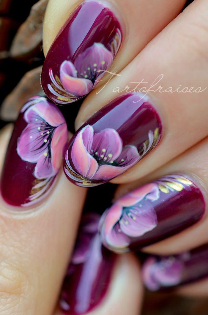Нейл-арт цветок розовый мак Жостово   Tartofraises