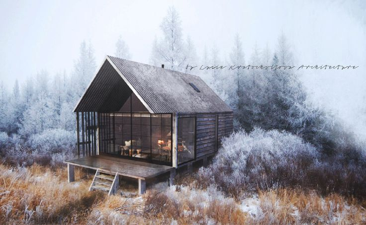 natural hut by architect © Lucie Kratochvilova _ cottage architecture  design winter rustic old wood recycled eco frozen