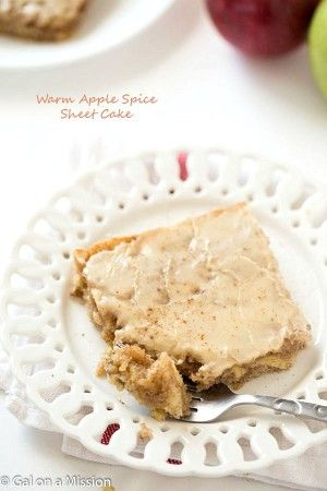 Warm Apple Spice Sheet Cake Recipe with Sweet Caramel Glaze - Each bite contains the perfect amount of shredded apples with a hint of nutmeg and cloves! Best when served warm. Even better than an apple pie or apple crisp!