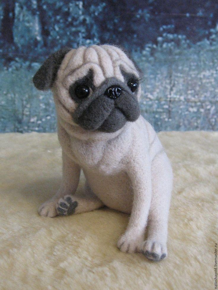 Купить Мопсик - белый, мопс, мопсик, собака, собака из шерсти, собака игрушка, собака валяная
