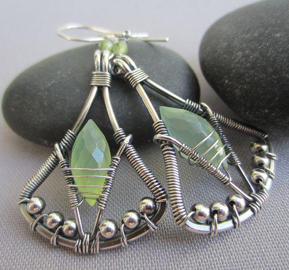 Chalcedony Earrings/ Silver Wire Earrings/ Prehnite green by mese9