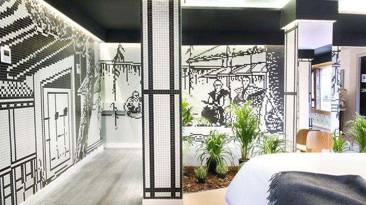 Kazuo Suite ¡Un estudio que mezcla el estilo oriental con la naturaleza!  Egue y Seta apostó por el servicio Art Factory Hisbalit para personalizar las paredes de esta espectacular suite en Casa Decor.  Dibujos personalizados en blanco y negro que invitan a soñar despiertos  y a viajar a un mundo de estética oriental y naturaleza.