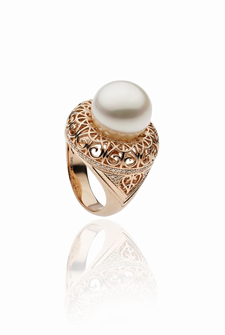 Autore Iron Lattice Ring  18k Rose Gold with Diamonds and South Sea pearls. Inspired by the Eiffel Tower in Paris