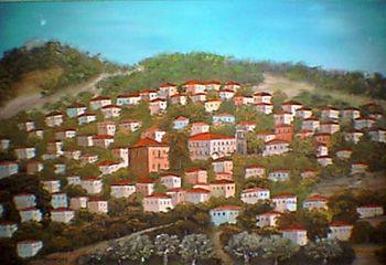 Vatousa village,Lesvos island,painting of Panagos Malamelis