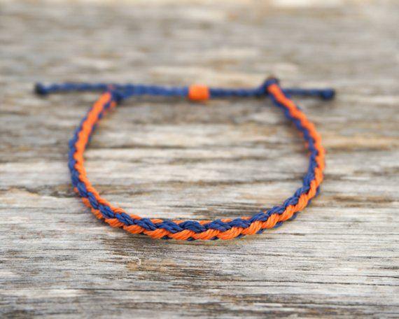 Woven bracelet Orange brown bracelet Men/'s bracelet Braided bracelet Surfer bracelet Adjustable bracelet Waterproof bracelet
