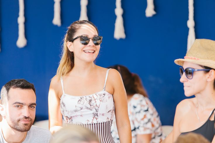 lafete, after-wedding event, beach bar, Syros, happy smile