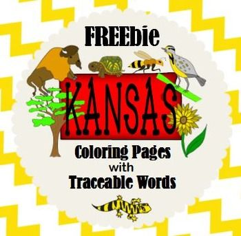 KANSAS DAY STATE FACTS SYMBOLS COLORING PAGES with TRACEABLE words  FREE  Celebrate Kansas Day with this pack of TEN Coloring Pages with Traceable Words!  This FREE pack includes: Tree: Cottonwood Insect: Honeybee Mammal: American Bison Reptile: Ornate Box Turtle Flower: Sunflower Bird: Western Meadowlark Amphibian: Barred Tiger Salamander Song: Home on the Range Capital: Topeka Borders: Oklahoma, Colorado, Nebraska and Missouri  For a comprehensive product to celebrate Kansas Day, please…