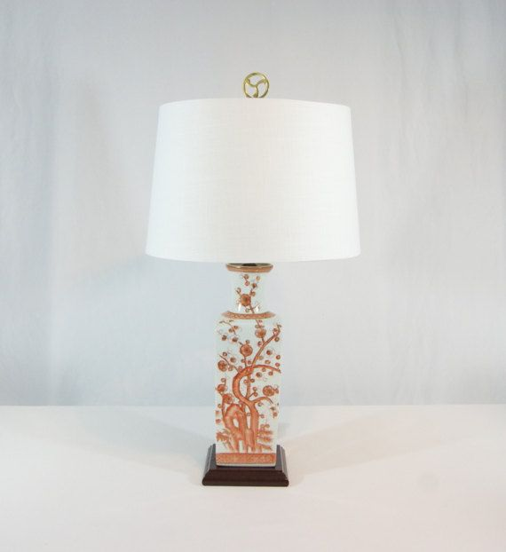 Asian Table Lamp Cherry Blossom Tree Ceramic Chinoiserie Chic