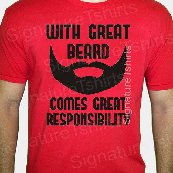 Gift for Dad Mens Tshirt With Great Beard Shirt Husband Dad t shirt Comes Great Responsibility father Birthday Anniversary t shirt  t-shirt on Etsy, $14.95