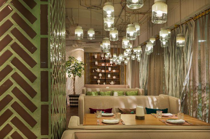Light composition of painted glass jars. Design by @megreinteriors  #light #interior #decor #design #idea