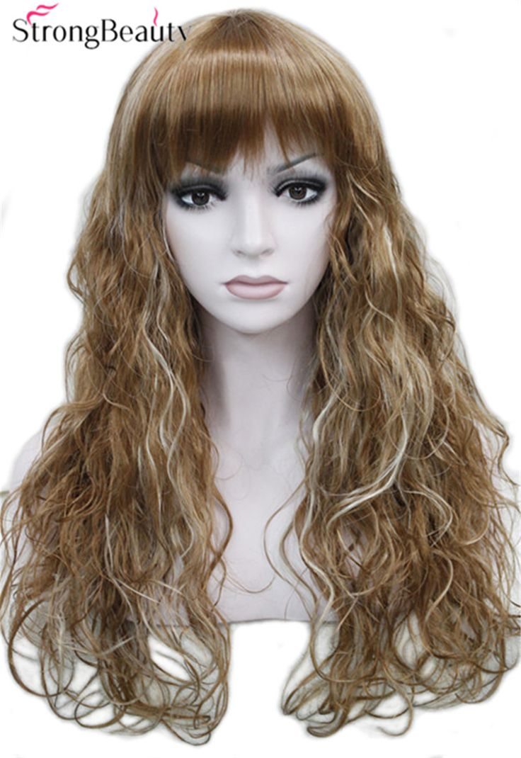 Strong Beauty Synthetic Long Wave Wigs With Bangs Women Full Wig