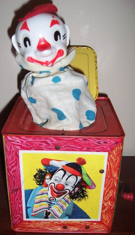 Toys From 1953 : Mattel clown musical jack in the box vintage toys