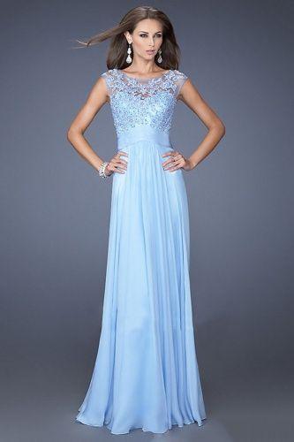 A-line Bateau Floor-length Chiffon Tulle Dress - $156.99