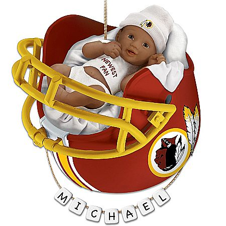 NFL Washington Redskins Personalized African-American Baby Christmas Ornament