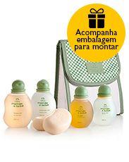 Presente Natura Mamãe e Bebê - Shampoo + Condicionador + Sabonete + Água de Colônia + Óleo + Bolsa + Embalagem Desmontada