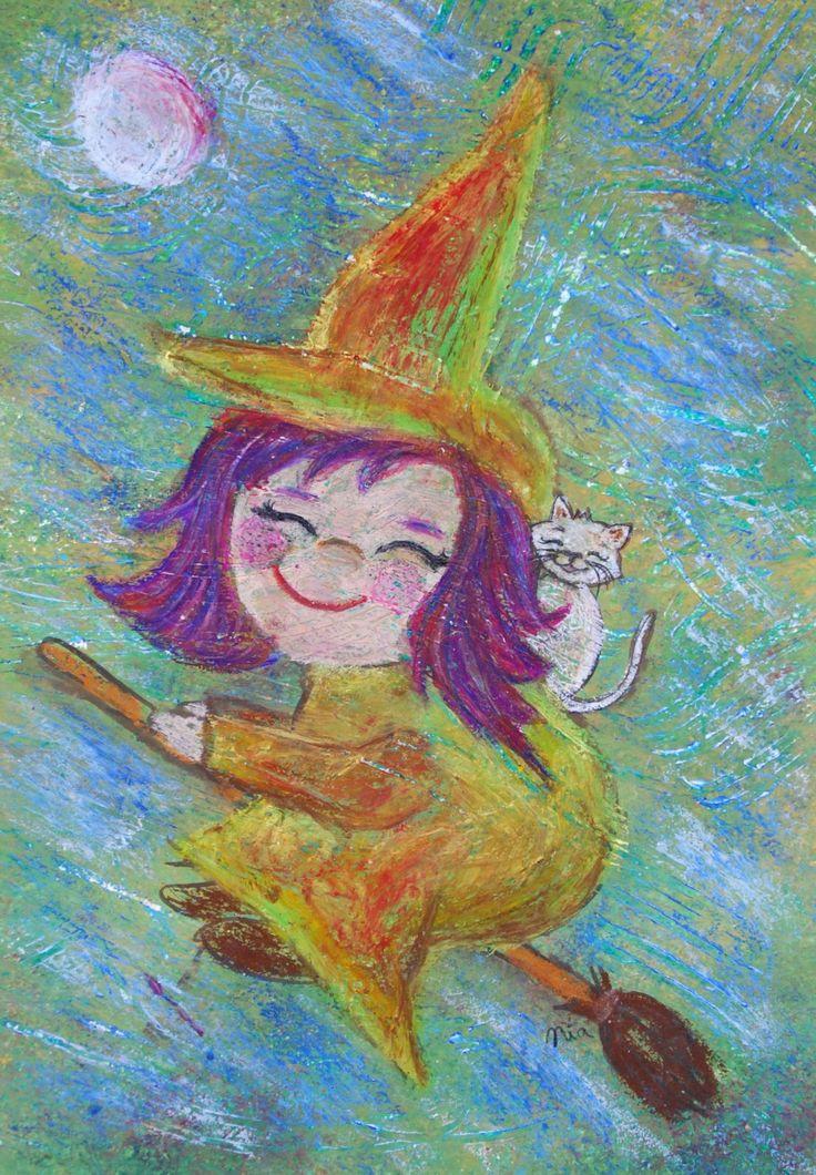 A3 Original Kinderzimmerbild: Kleine Hexe // Original nursery painting (A3): Little witch