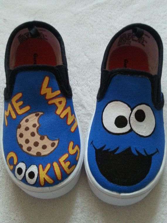 Found these Cookie Monster Sesame Street shoes on Etsy, but I think I'd like 2 different characters.  Maybe I'll try to DIY cookie monster and Elmo canvas sneakers                                                                                                                                                                                 More