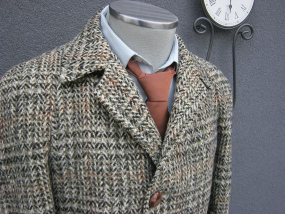 1940s Olive Tweed Overcoat / Vintage Caledon Tweed Full Length